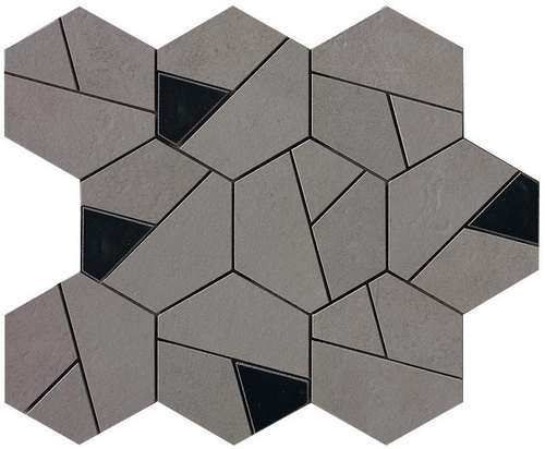 Фото плитки Boost Smoke Mosaico Hex Black, размер 25x28,5
